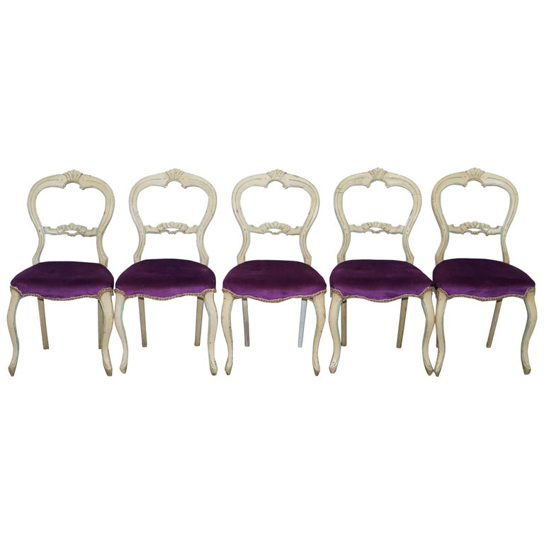 Superb Set Of Five 5 Victorian Medallion Back Original French Shabby Chic Dining Chairs Download Free Architecture Designs Scobabritishbridgeorg