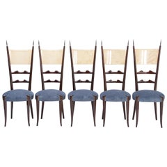 Set of Five High Back Dining Chairs by Aldo Tura, circa 1950's