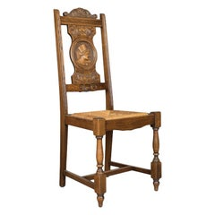 Set of Five Antique Dining Chairs, Flemish Country Kitchen Oak, Rush, circa 1910