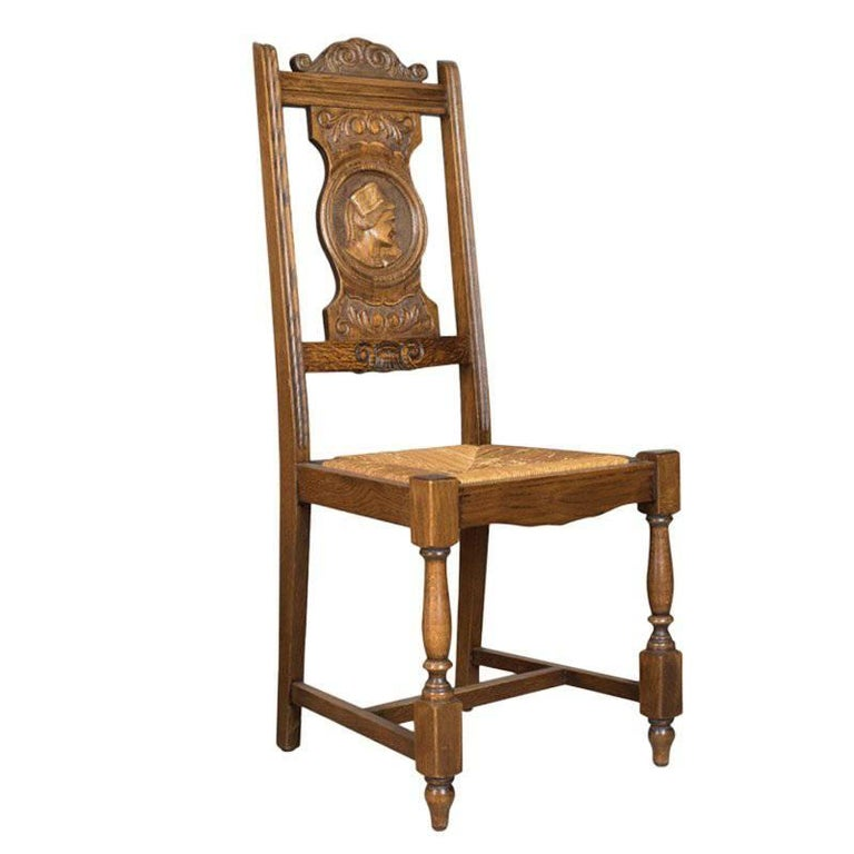 Set of Five Antique Dining Chairs, Flemish Country Kitchen Oak, Rush, circa  1910 - Set Of Five Antique Dining Chairs, Flemish Country Kitchen Oak, Rush