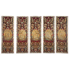 Set of Five Antique French Needlepoint Panels, circa 1880, 1'3 x 3'10