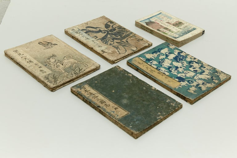 Set of Five Antique Japanese Samurai Manga and Epic Book Edo Period, circa 1819 In Fair Condition In Barcelona, Barcelona