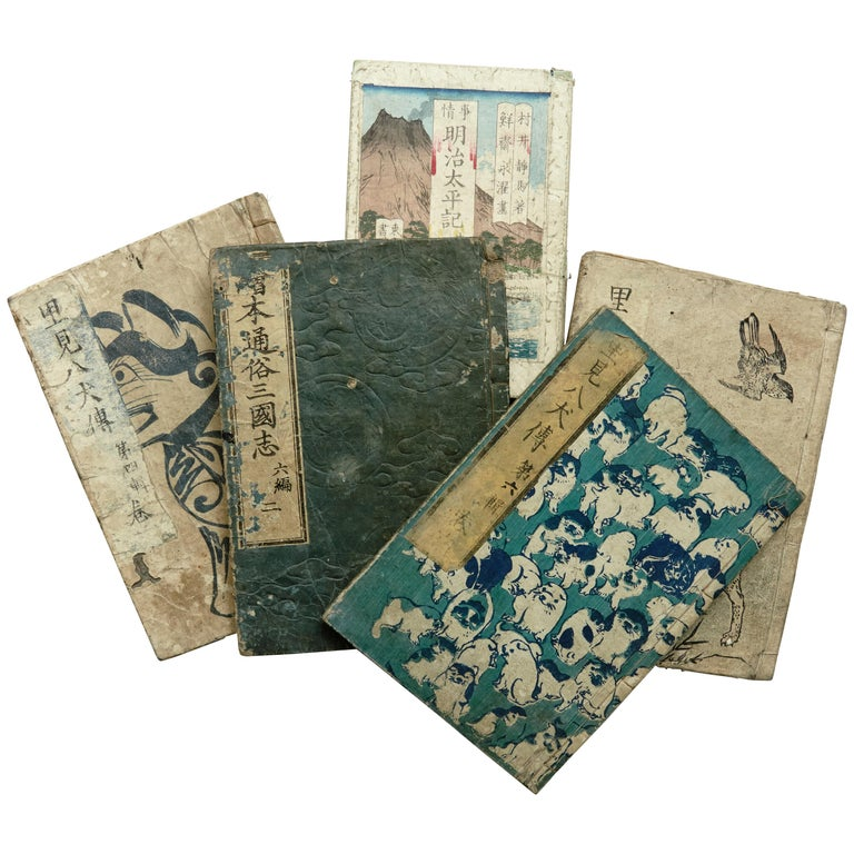 Set of Five Antique Japanese Samurai Manga and Epic Book Edo Period, circa 1819