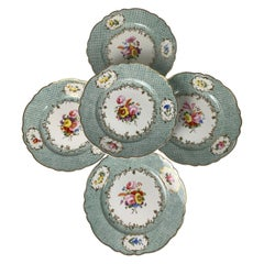 Set of Five Antique Porcelain Dishes Hand-Painted, England, Circa 1830