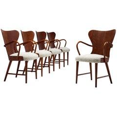 Set of Five Armchairs by Søren Hansen for Fritz Hansen, Denmark, 1943