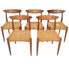 Set of Five Arne Hovmand Olsen MK 310 Dining Chairs in Teak & Paper Cord