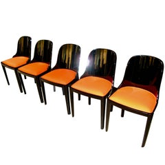 Set of Five Art Deco Chairs, Blackened Wood, Orange Fabric, France, circa 1930