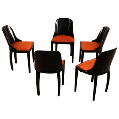 Set of Five Art Deco Dining Chairs, Black with Orange Fabric, France, circa 1930
