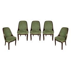 Set of Five Art Deco Mahogany Side Chairs