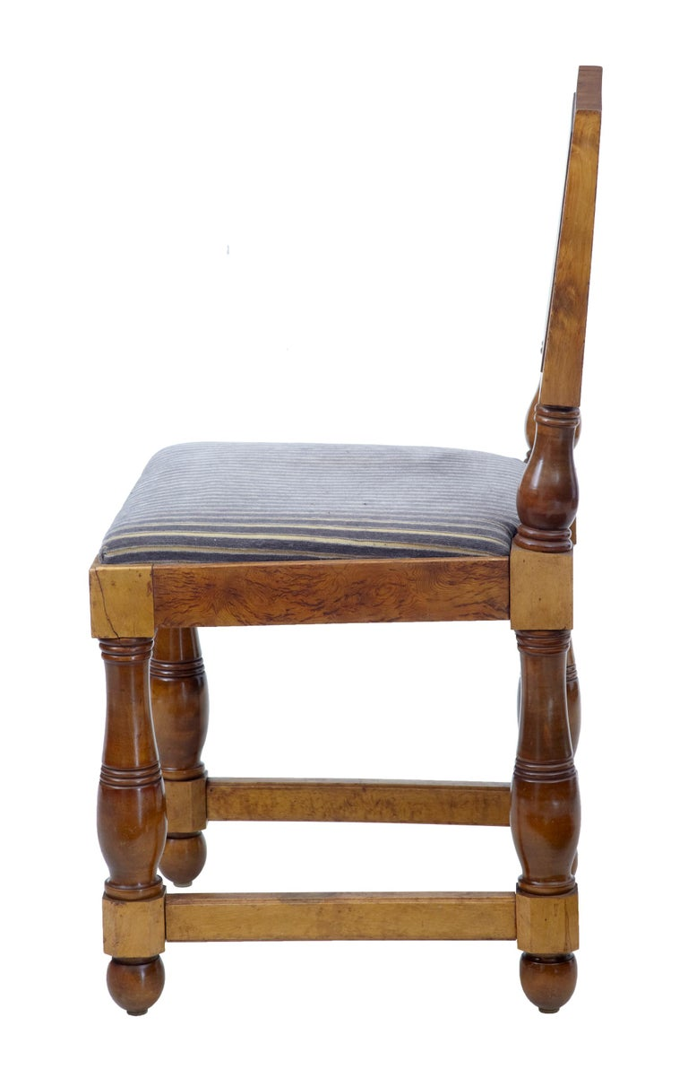 Swedish Set of Five Art Deco Period Pine Dining Chairs For Sale