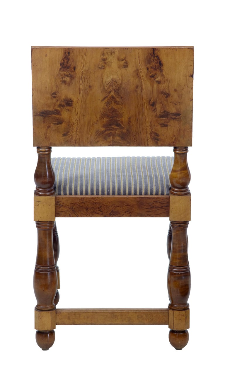 Woodwork Set of Five Art Deco Period Pine Dining Chairs For Sale