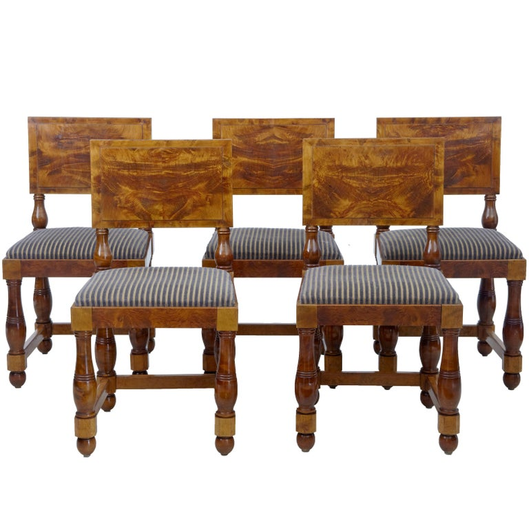 Set of Five Art Deco Period Pine Dining Chairs For Sale