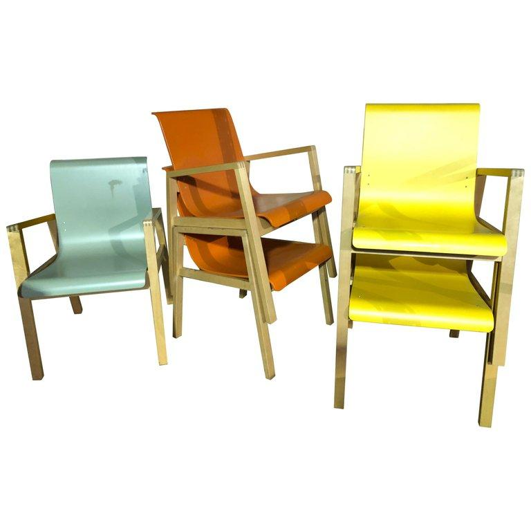 Finnish Set of Five Artek Hallway Chairs by Alvar Aalto For Sale