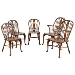 Set of Five Ash and Beech Wheelback Windsor Chairs, England
