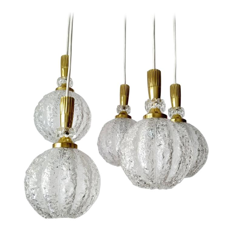 Set of Five Austrian Vintage Glass Globes Ceiling Hanging Lights, 1960s