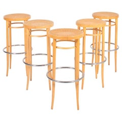 Set of Five Bar Stools Designed by Thonet, 1980s