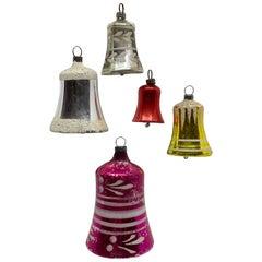 Set of Five Bell Christmas Ornaments Vintage, German, 1930s