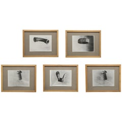 Set of Five Black and White Photo Studies, Dutch, Signed