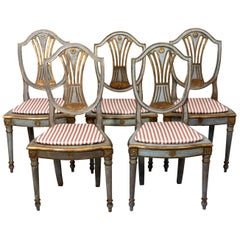 Set of Five Blue and Gold Painted Shield Back Side Chairs