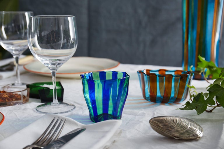 Set of Five Campbell-Rey Octagonal Striped Murano Tumblers For Sale 2