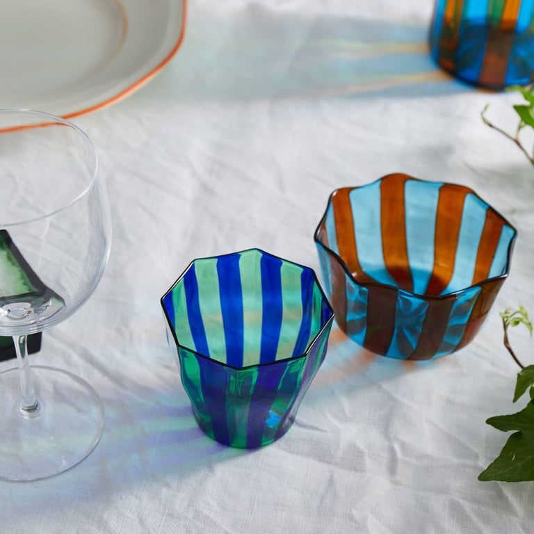 Italian Set of Five Campbell-Rey Octagonal Striped Murano Tumblers For Sale