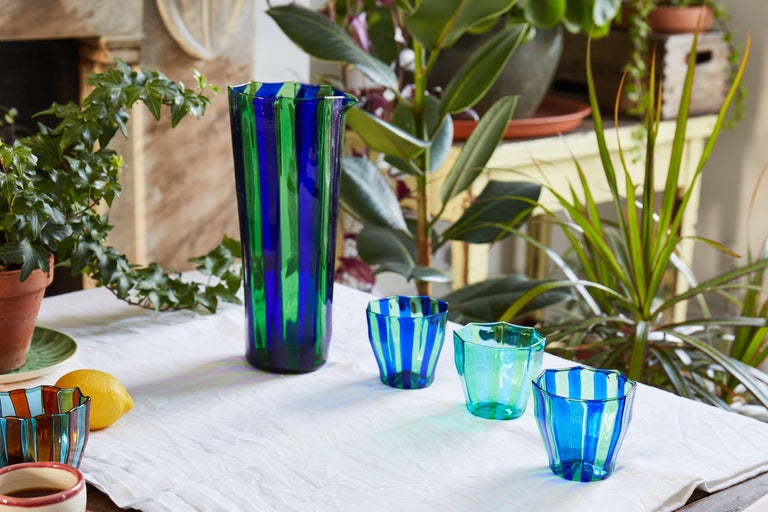 Set of Five Campbell-Rey Octagonal Striped Murano Tumblers For Sale 1