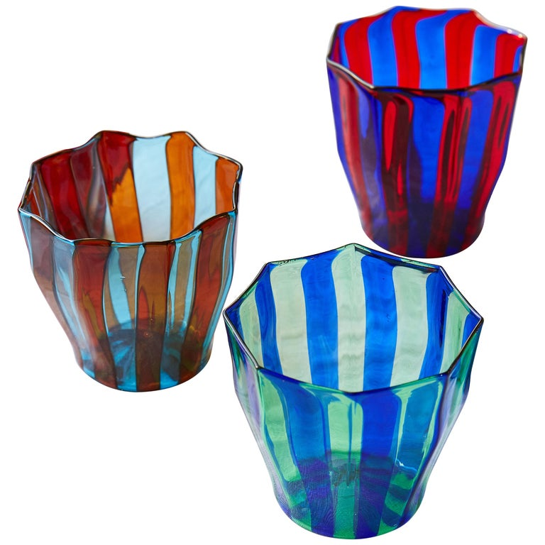 Set of Five Campbell-Rey Octagonal Striped Murano Tumblers For Sale