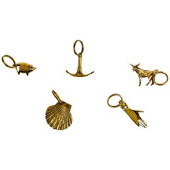 Set of Five Carl Auböck Brass Figurine Keyrings