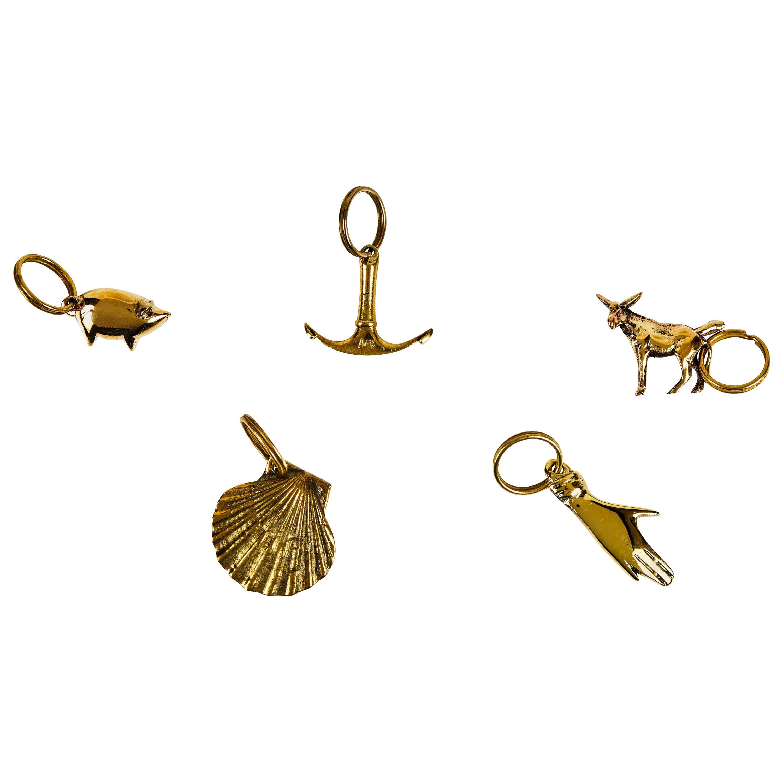 Set of Five Carl Auböck Brass Figurine Keyrings