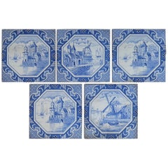 Set of Five Ceramic Wall Tiles Delft Style Blue and White Pattern, circa 1920s