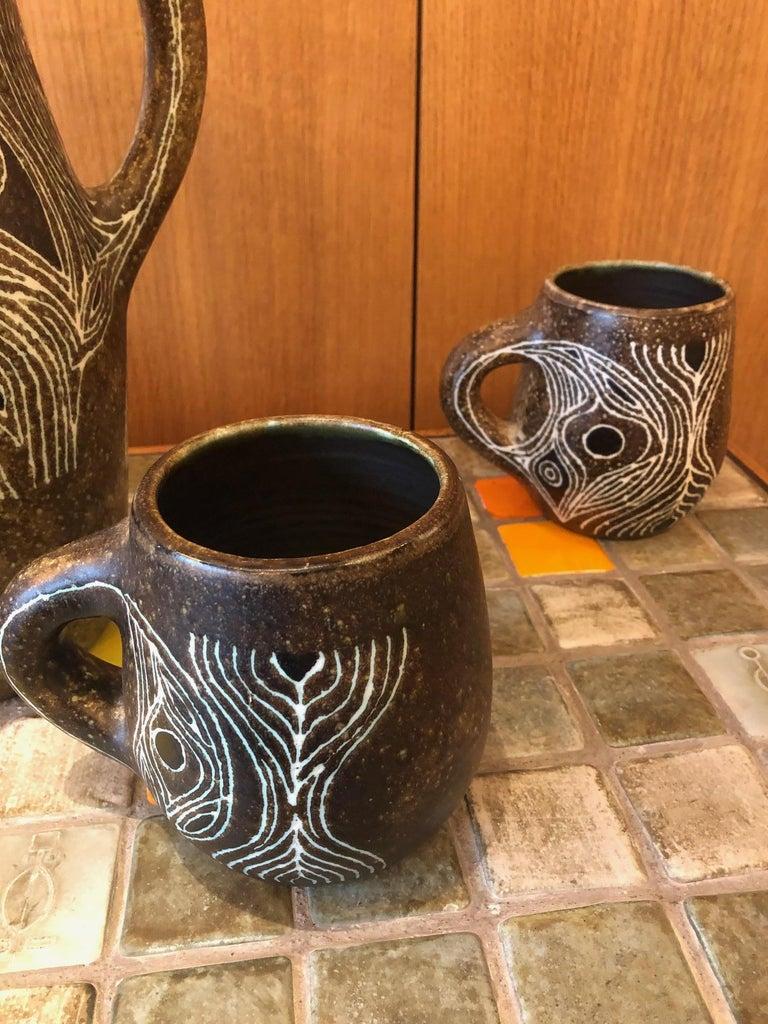 Glazed Set of Five Ceramics by Les 2 Potiers, France, 1960s For Sale