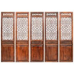 Set of Five Chinese Antique Screens Ming Style