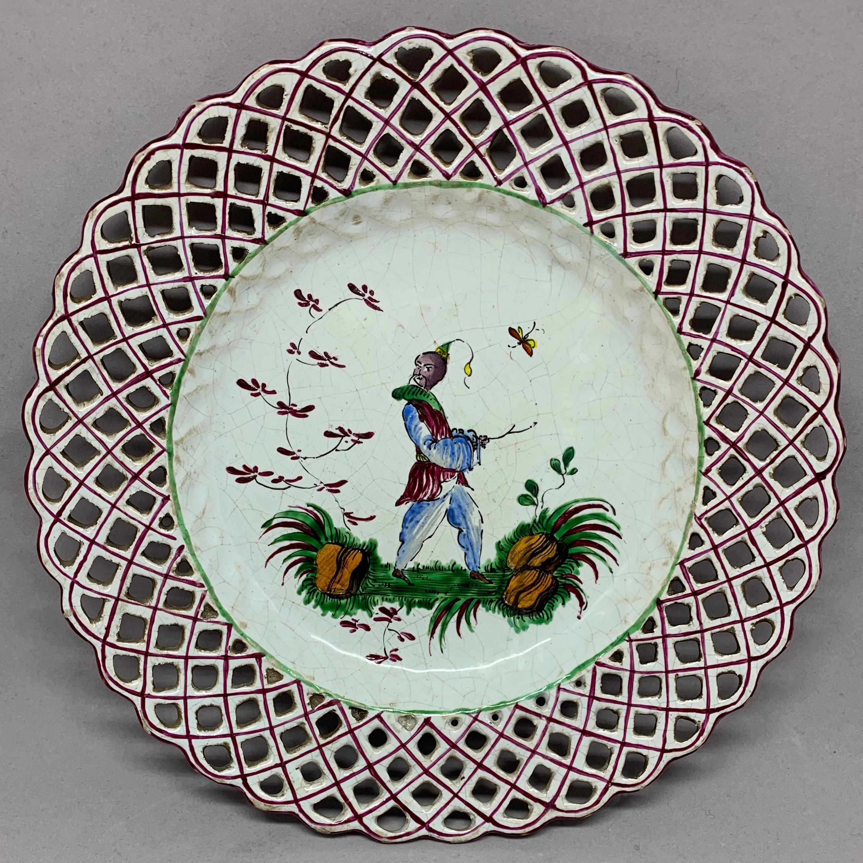 Set Of Five Chinoiserie Faience Dishes. Set Of Four Italian Faience Plates  With Matching Basket