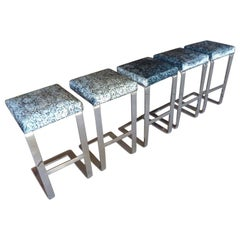 Set of Five Chrome-Plated Flat Bar Steel Barstools, Pace Collection, circa 1970s