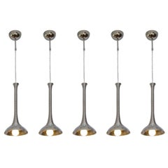 Set of Five Chrome Suspension Spiral Lamps Attributed to Angelo Mangiarotti