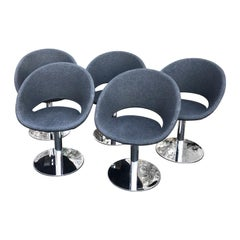 Italian Chrome Swivel Base Dining Chairs, B&B Italia Style, Charcoal Gray Fabric