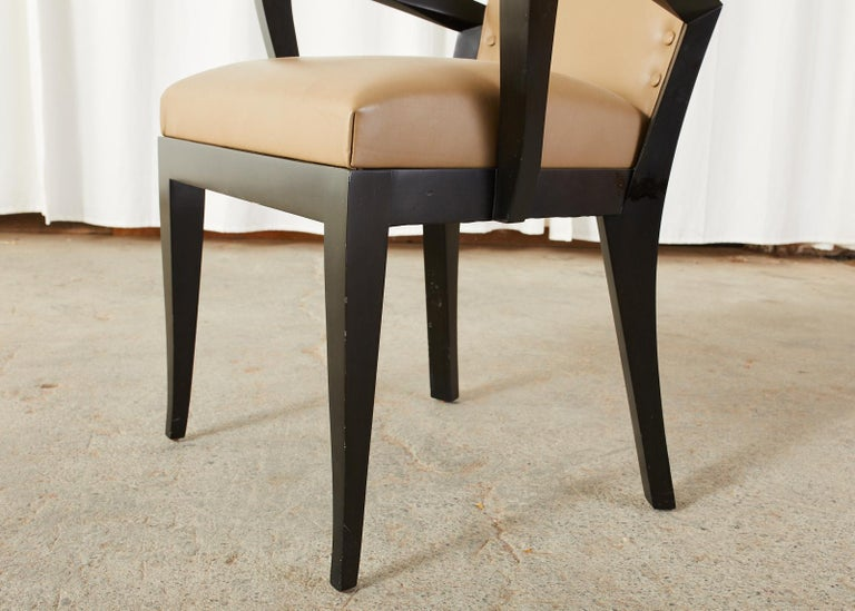 Set of Five Dakota Jackson Cadette Leather Dining Armchairs 7