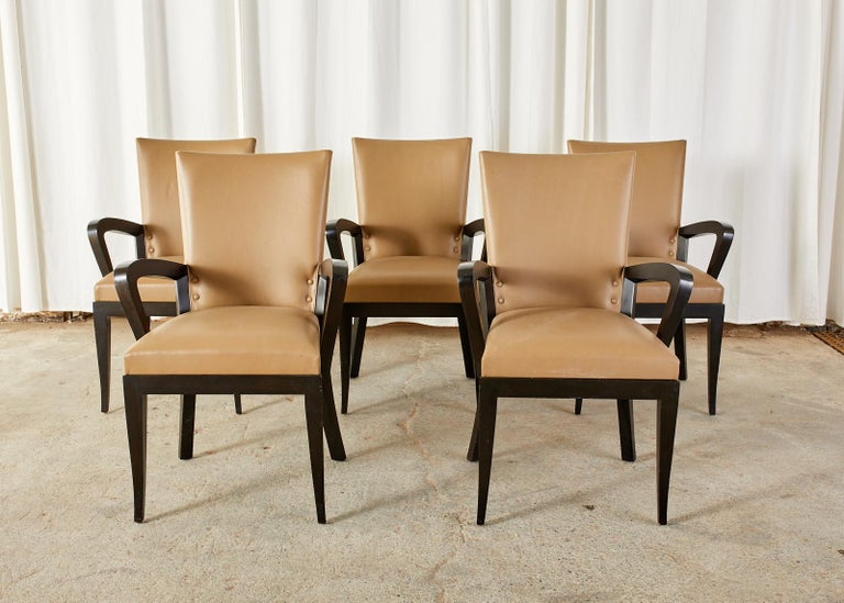 Set of Five Dakota Jackson Cadette Leather Dining Armchairs 11
