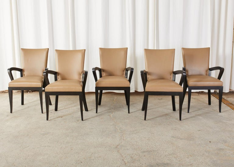 Modern Set of Five Dakota Jackson Cadette Leather Dining Armchairs