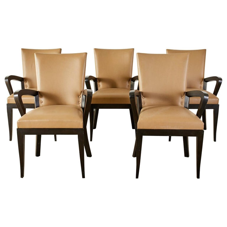 Set of Five Dakota Jackson Cadette Leather Dining Armchairs