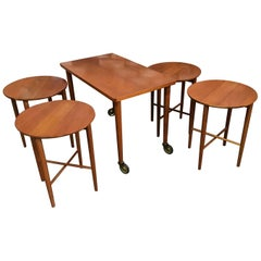 Set of Five Danish Modern Nesting Tables by Carlo Jensen for Hundevad