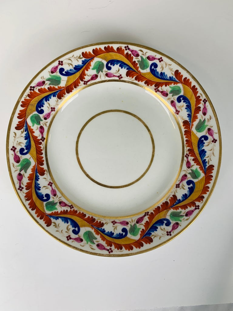 Regency Set of Five Derby Dishes Hand-Painted in England, circa 1810 For Sale