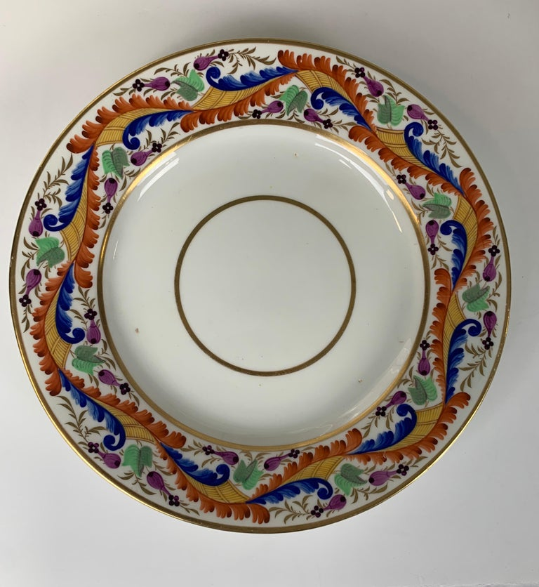 English Set of Five Derby Dishes Hand-Painted in England, circa 1810 For Sale