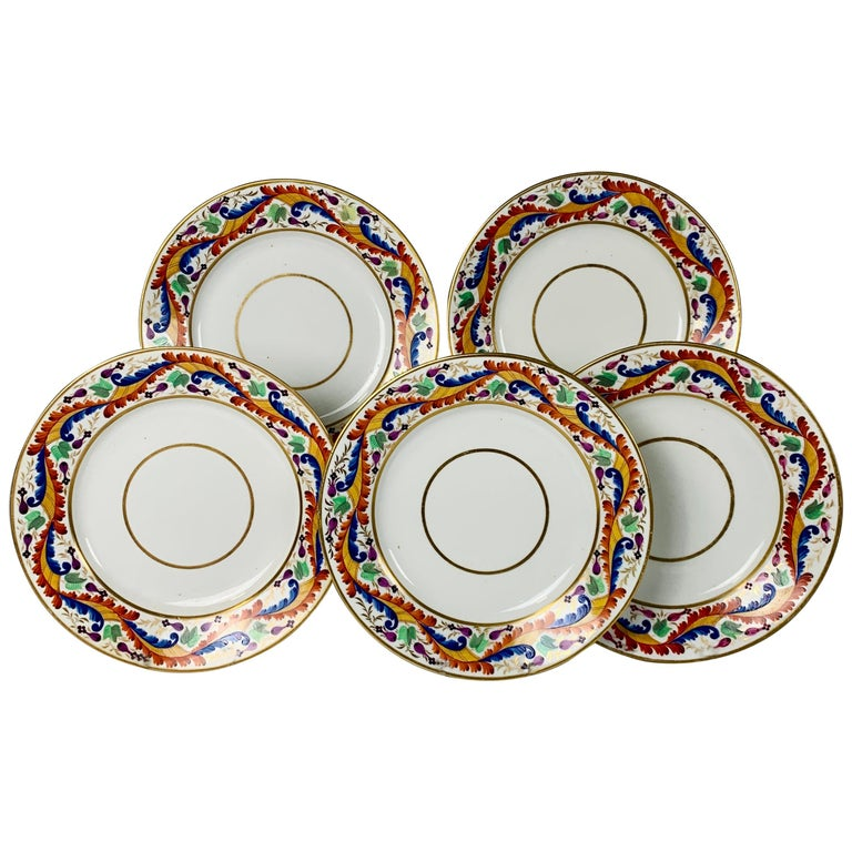 Set of Five Derby Dishes Hand-Painted in England, circa 1810 For Sale