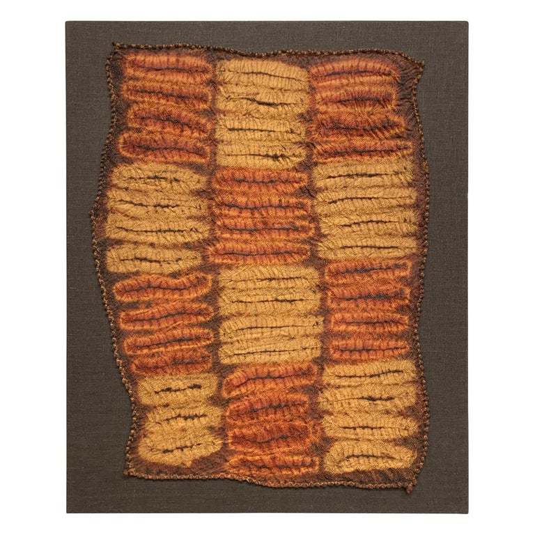 An incredible and rare set of five mid-20th century Dida (Ivory Coast) hand-plated Shibori tie-dyed raffia ceremonial kerchiefs mounted on linen stretched frames. These kerchief were not woven on a loom, but rather completely by hand creating