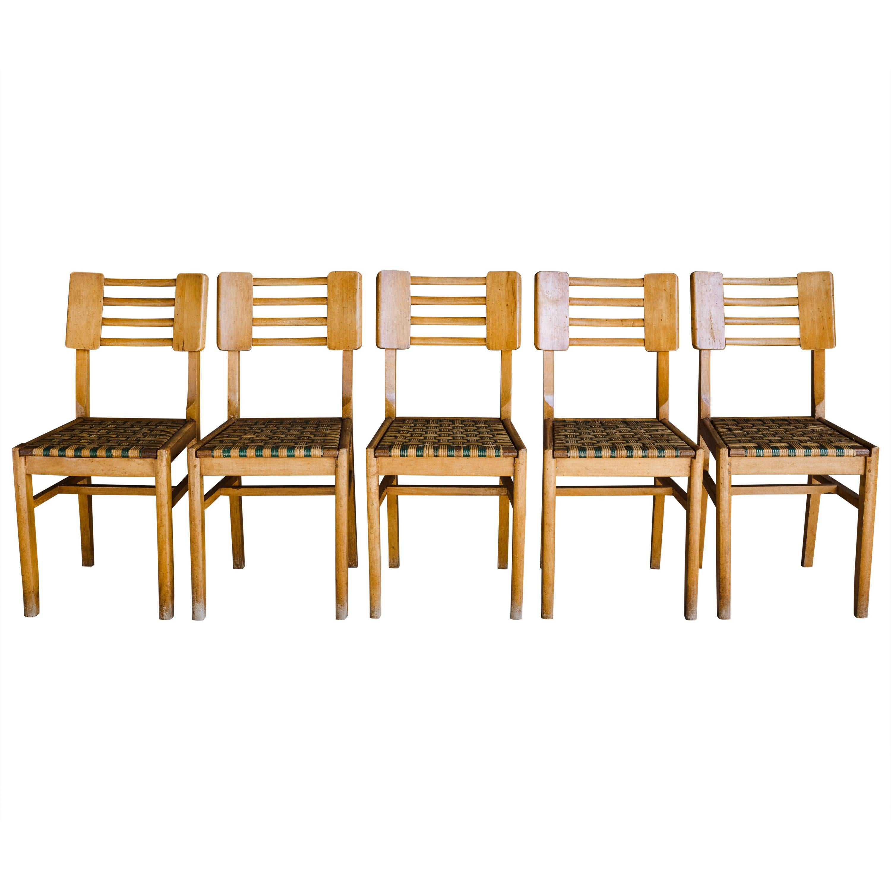 Set of Five Dining Chairs by Pierre Cruege, France, 1940s