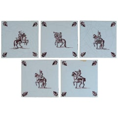 Set of Five Dutch Delft Manganese Tiles Hand Painted Horse Riders