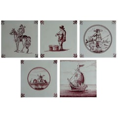 Set of Five Dutch Delft Manganese Wall Tiles Different Patterns, 20th Century