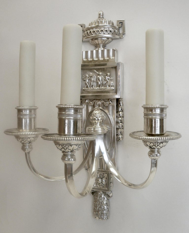 Belle Époque Set of Five E. F. Caldwell Silvered Bronze Neoclassical Sconces For Sale