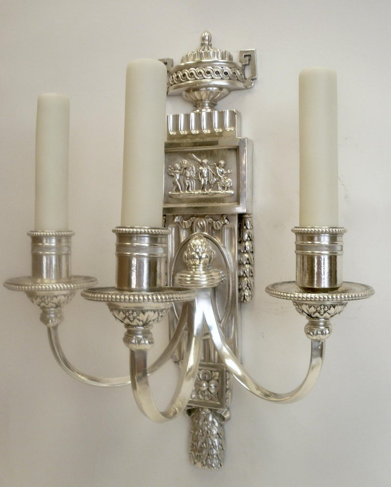 American Set of Five E. F. Caldwell Silvered Bronze Neoclassical Sconces For Sale